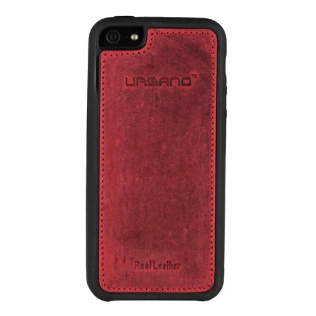 Urbano Genuine Leather Slim Case for iPhone 5S / 5 - Burgundy Vintage