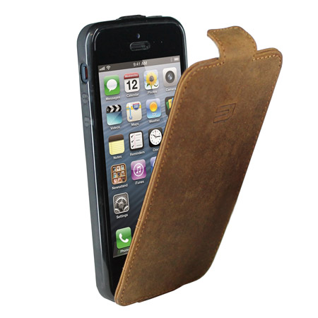 urbano genuine leather flip case for iphone 5s 5 vintage. Black Bedroom Furniture Sets. Home Design Ideas
