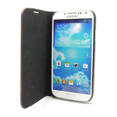 Uunique Textured Leather Case with Wooden Panel for Galaxy S4 - Beige