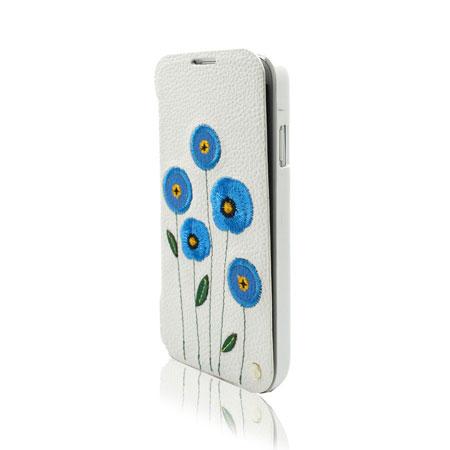 Uunique Poppy Flower Folio Case For Samsung Galaxy S4 - White/Blue