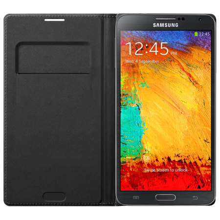 Official Samsung Galaxy Note 3 Flip Wallet Cover - Jet Black