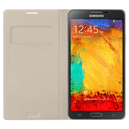 Official Samsung Galaxy Note 3 Flip Wallet Cover - Oatmeal