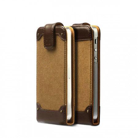 innovative design b3b30 ca728 Zenus Fabric Rock Vintage Folder Case for iPhone 5S / 5 - Dark Beige