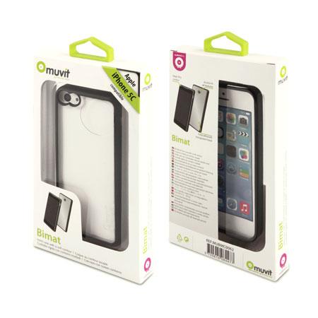 Coque iPhone 5C Muvit Bimat – Noire / Transparente