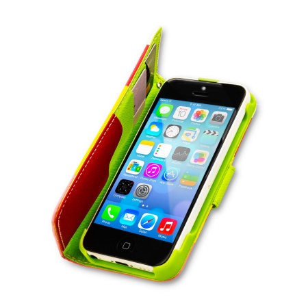 red iphone 5c iphone 5c leather style stripe wallet stand 12844