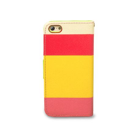 IPhone 5C Ledertasche Stripe Wallet Stand In Rot Pink Und Gelb