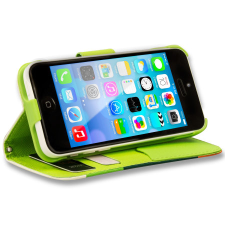 huge discount 5788a baa51 iPhone 5C Leather Style Stripe Wallet Stand Case - Green / Orange