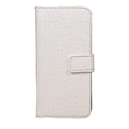 Wallet and Stand Case for Apple iPhone 5C - Crocodile White