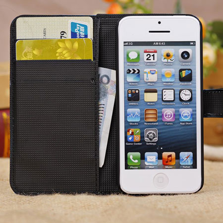 Wallet and Stand Case for Apple iPhone 5C - Crocodile Black