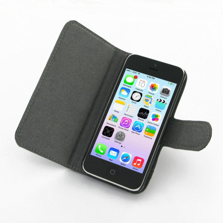 Ultra Thin Leather Book Case for Apple iPhone 5C - Black