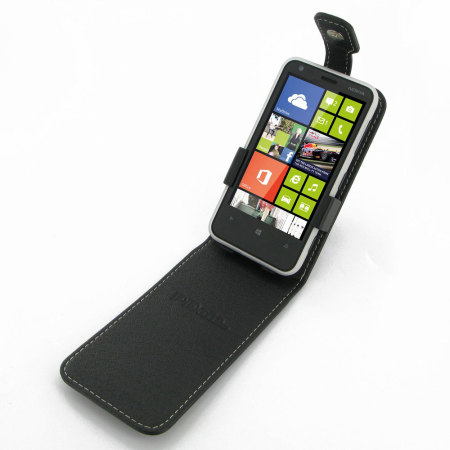 Pdair Leather Top Flip Case for Nokia Lumia 620 - Black