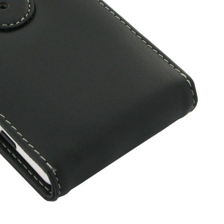 Pdair Leather Top Flip Case for Nokia Lumia 820 - Black