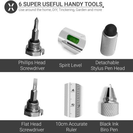 Olixar HexStyli 6-in-1 Stylus Pen - Zilver