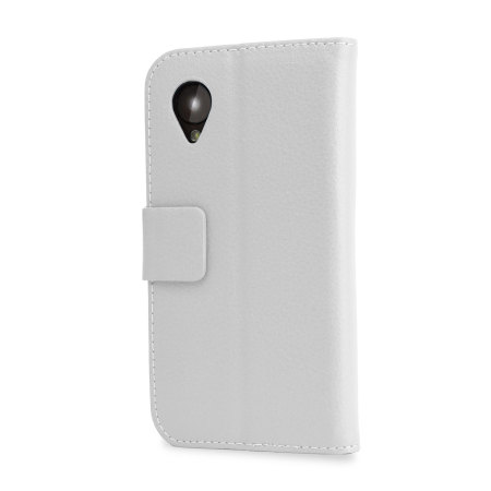 Adarga Leather Style Wallet Stand Case for Google Nexus 5 - White