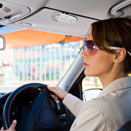 Buddy Hands-free Bluetooth Visor Kit And In Car Holder - White