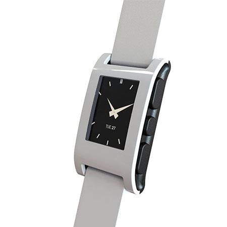 Smartwatch Pebble pour iOS et Android – Blanche