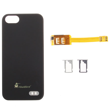 Dual SIM Card Adapter With Case for iPhone 5S / 5 - Black