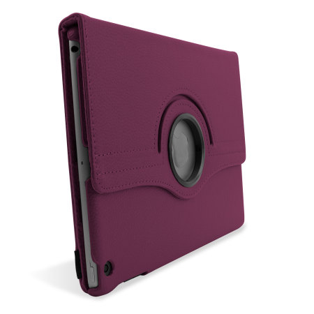 Rotating Leather Style Stand Case for iPad Air - Purple