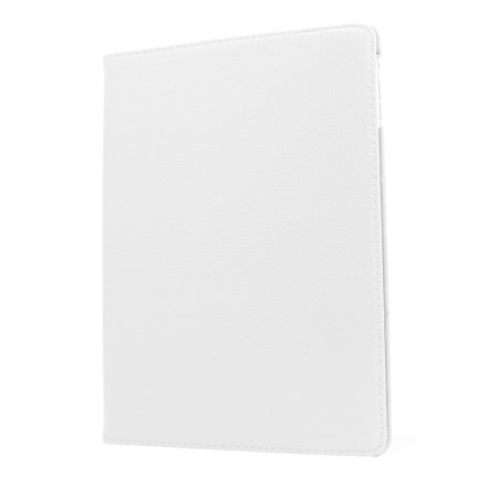 Rotating Leather Style Stand Case for iPad Air - White