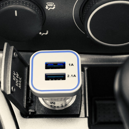Ge-Force 3.1A Dual USB Universal In-Car Charger 12-24V - White