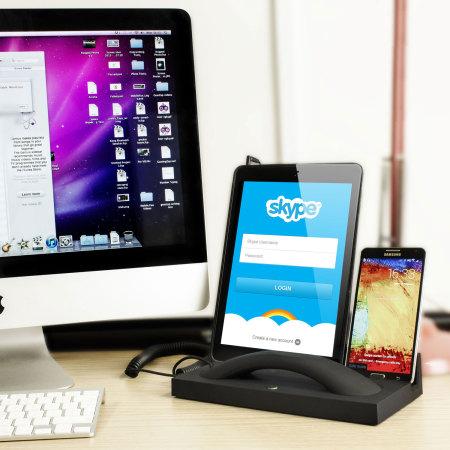 Support bureau avec combiné Native Union Curve pour deux appareils