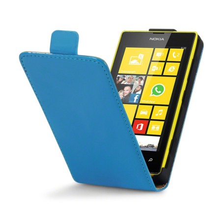 Adarga Leather Style Nokia Lumia 525 / 520 Flip Case - Neon Blue