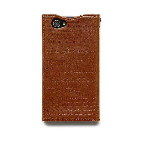 Zenus Lettering Diary Case for Sony Xperia Z1 Compact - Brown