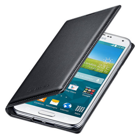 detailed look 30e4f 65c1d Official Samsung Galaxy S5 Flip Wallet Cover - Black