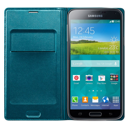Official Samsung Galaxy S5 Flip Wallet Cover - Blue Topaz