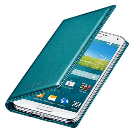 Official Samsung Galaxy S5 Flip Wallet Cover Blue Topaz P44020
