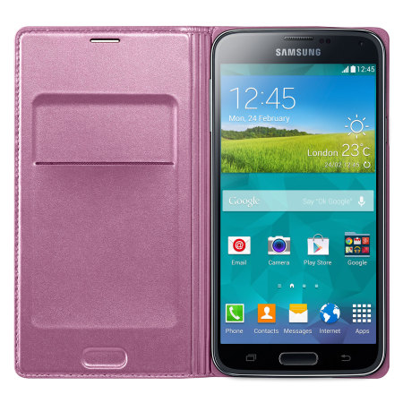Official Samsung Galaxy S5 Flip Wallet Cover - Glam Pink