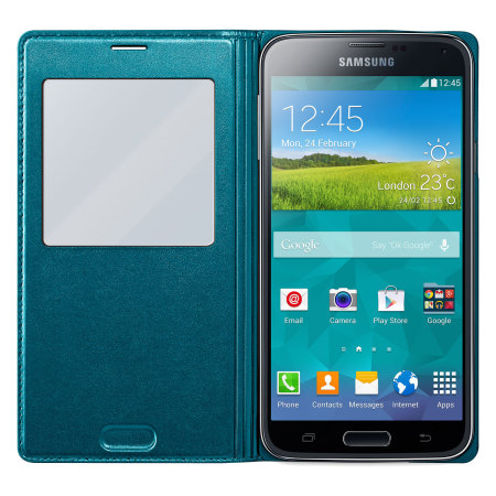 Official Samsung Galaxy S5 S-View Premium Cover Case - Green