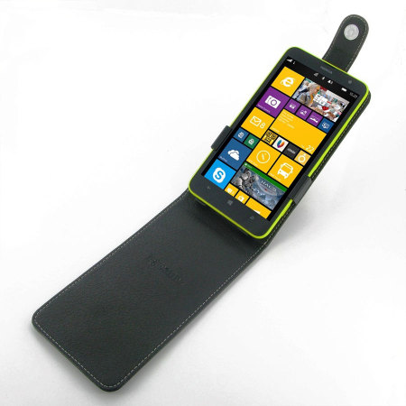 low price 44429 1d236 Pdair Leather Top Flip Case for Nokia Lumia 1320 - Black