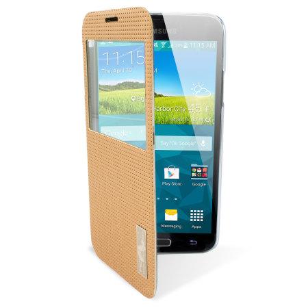 samsung side flip phones. rock elegant samsung galaxy s5 smart view flip case - gold side phones