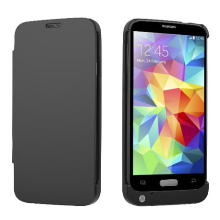 meet 23200 f44c1 Samsung Galaxy S5 Power Bank Flip Case - Black