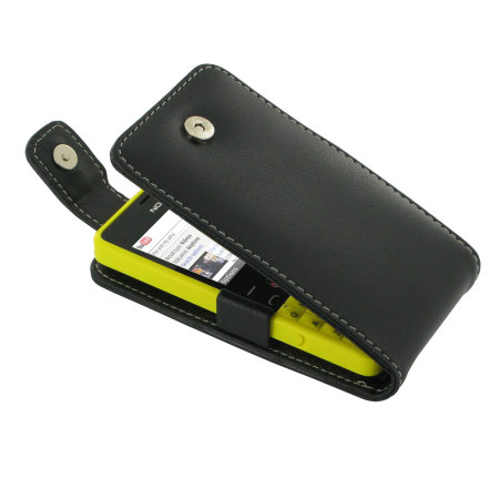 Pdair Leather Flip Nokia Asha 210 Case - Black