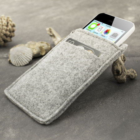 Handmade iPhone 5S / 5C / 5 Felt Wallet Pouch - Grey