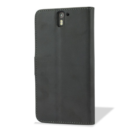 Adarga Leather-Style OnePlus One Wallet Stand Case - Black