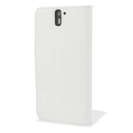 Adarga Leather-Style Wallet Stand Case for OnePlus One - White