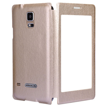 samsung galaxy s5 neo gold. nillkin scene samsung galaxy s5 leather-style view case - gold neo