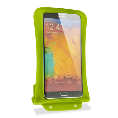 """dicapac universal waterproof case for smartphones up to 5 7"""" green"""