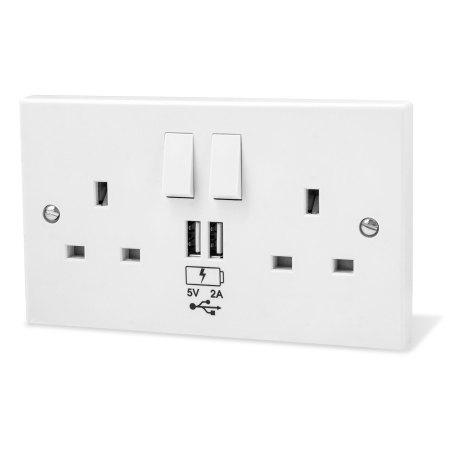 Power Socket with USB Charging Wall Plate - White
