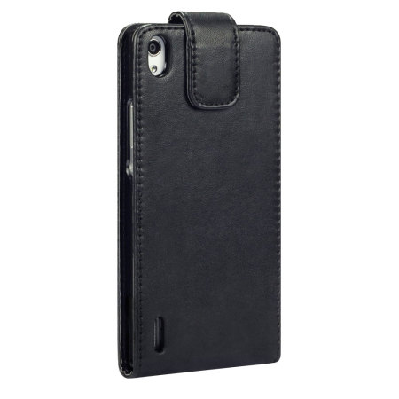 Adarga Leather-Style Huawei Ascend P7 Wallet Flip Case - Black