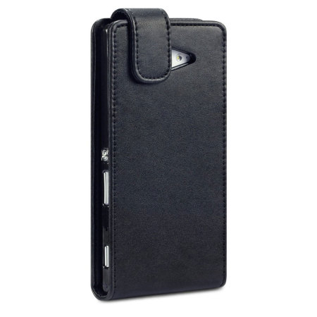 Qubits Leather-Style Sony Xperia M2 Wallet Flip Case - Black