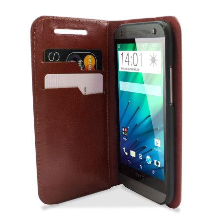 Encase HTC One Mini 2 Wallet Case - Brown