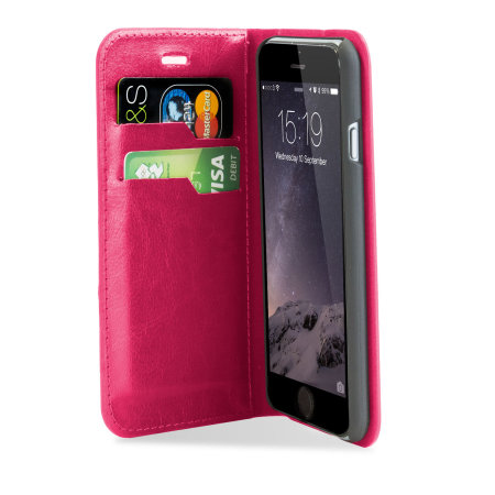 mucosa-associated encase leather style iphone 6s 6 wallet case hot pink