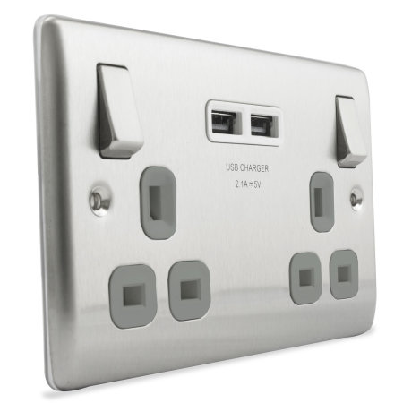 UK Power Socket USB Charging Wall Plate - Steel / Grey