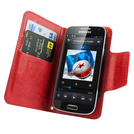 Encase Rotating 4 Inch Leather-Style Universal Phone Case - Red