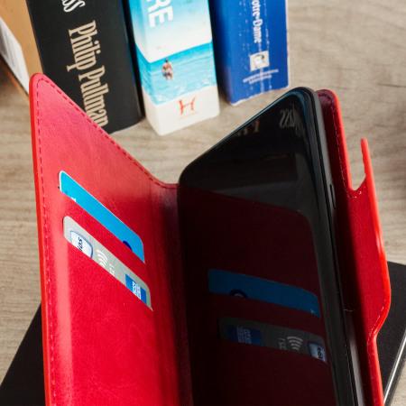 Encase Draaibaar 5,5 Inch Leren-Stijl Universele Phone Case - Rood