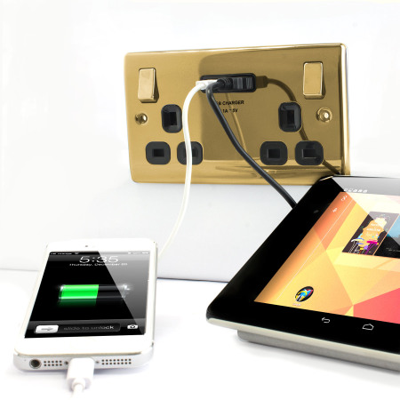 UK Power Socket with USB Charging Wall Plate - Brass